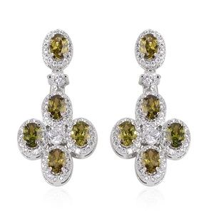 Simulated Forest Green Diamond Dangle Earrings